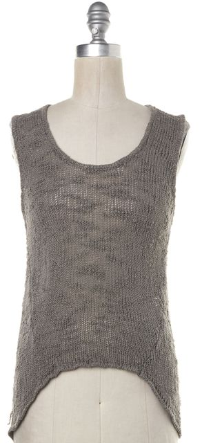 HELMUT LANG Gray Open Knit Silk Asymmetrical Knit Tank Top