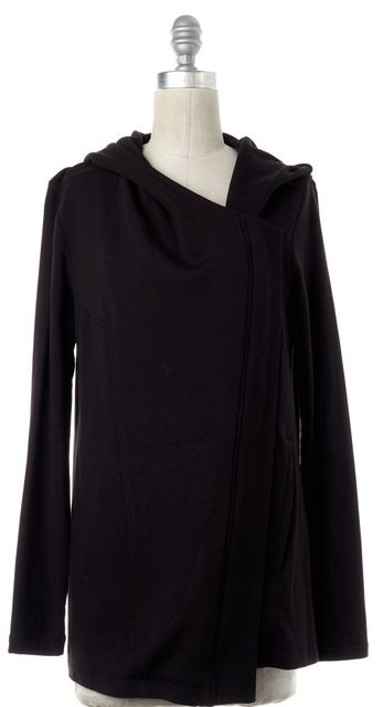 HELMUT LANG Black Asymmetrical Zip Front Sweatshirt Jacket