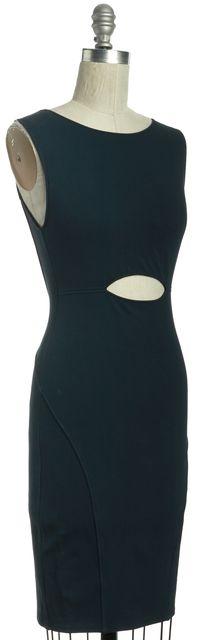HELMUT LANG Teal Blue Cutout Front Sleeveless Bodycon Dress