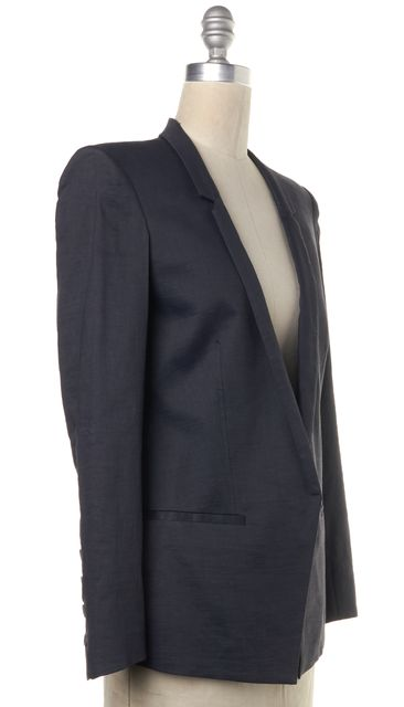 HELMUT LANG Blue Linen Single Button Faux Pockets Blazer Jacket