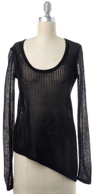 HELMUT LANG Black Asymmetrical Hem Hemp Wool Open Knit Long Sleeve Top