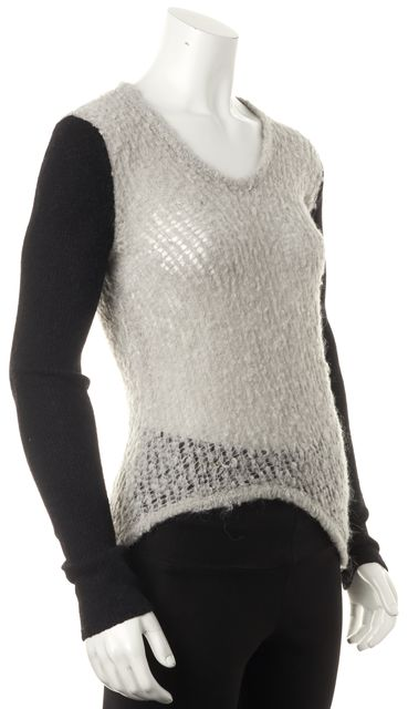 HELMUT LANG Gray Black Colorblock Asymmetrical Open Knit Scoop Neck Sweater