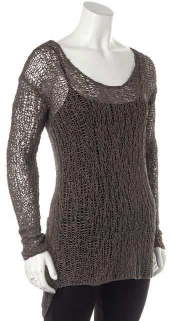 HELMUT LANG Gray Asymmetrical Long Sleeve Knit Top