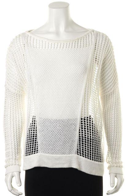 HELMUT LANG White Linen Oversized Open Knit Crewneck Sweater