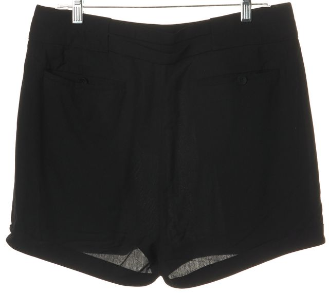 HELMUT LANG Black Draped Pleated Cuffed Hem Casual Shorts