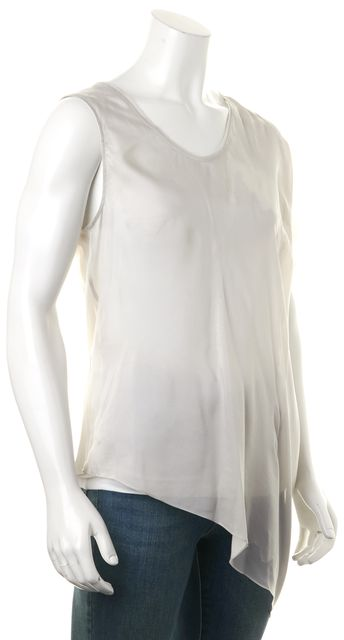 HELMUT LANG Heather Gray Abstract Print Sheer Combo Blouse Top