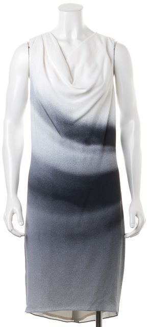 HELMUT LANG White Gray Black Ombre Sleeveless Draped Neck Sheath Dress