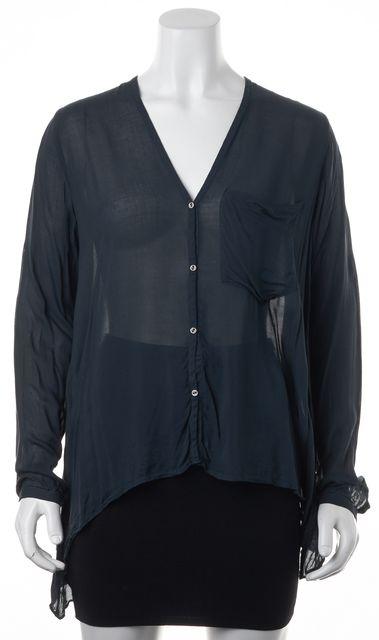 HELMUT LANG V-Neck Long Sleeve Button Front Sheer Blouse Top