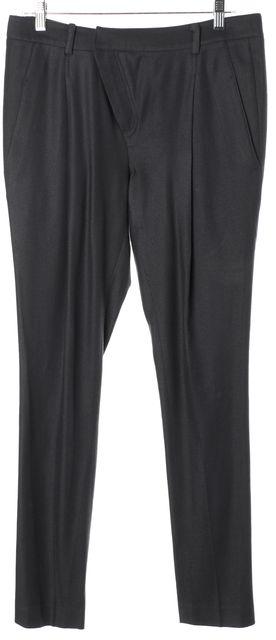 HELMUT LANG Gray Wool High Rise Pleated Skinny Leg Trousers Pants