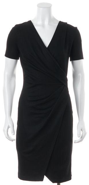 HELMUT LANG Black Felted Wool Short Sleeve Wrap Style Sheath Dress