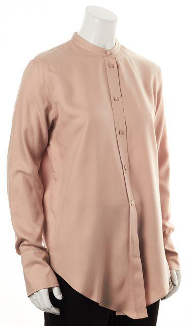 HELMUT LANG Apricot Beige Silk Tuxedo Button Down Shirt