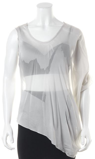 HELMUT LANG Gray Silk Abstract Asymmetrical Blouse Top