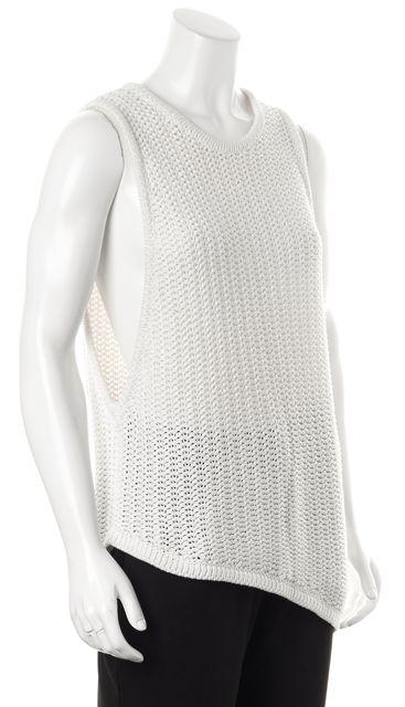 HELMUT LANG White Cotton Sleeveless Asymmetrical Hem Chunky Knit Top