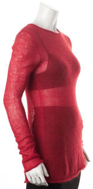 HELMUT LANG Red Mohair Sheer Raw Hem Crewneck Sweater