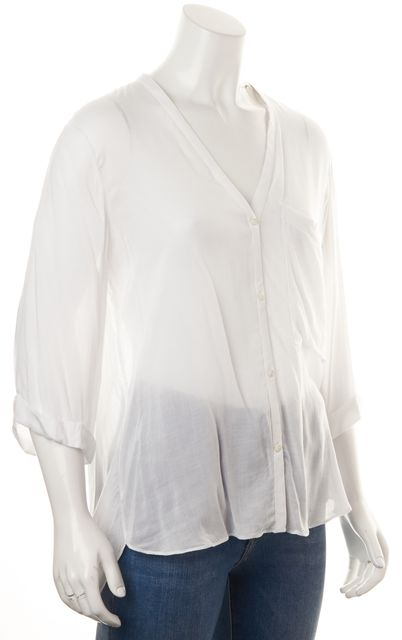 HELMUT LANG White Wrap Effect Back V-Neck Sheer Blouse Top