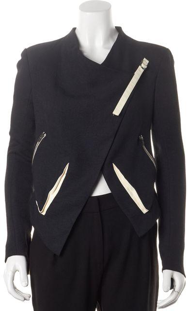 HELMUT LANG Black Ivory Cropped Drape Basic Jacket