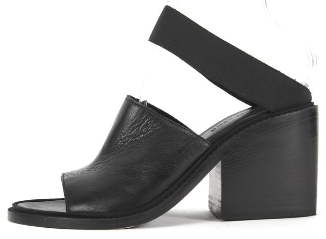 HELMUT LANG Black Leather Slip-on Two Strap Chunky Stacked Heels