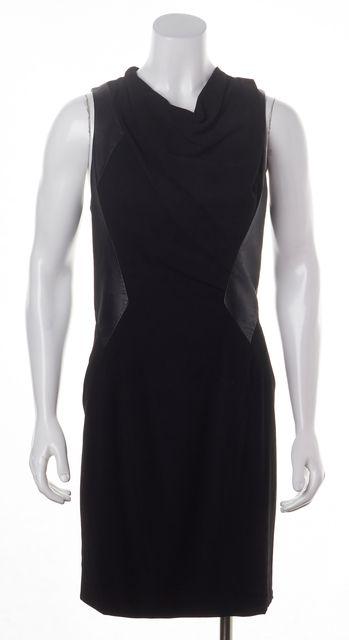 HELMUT LANG Black Leather Combo Sleeveless Sheath Dress