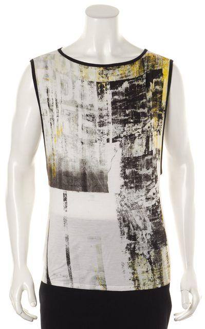HELMUT LANG White Yellow Black Abstract Sleeveless Basic T-Shirt