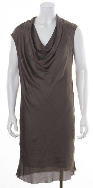 HELMUT LANG Olive Green Sleeveless Draped Blouson Dress