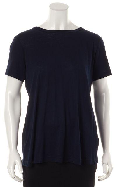 HELMUT LANG Navy Blue Lace-Up Back Short Sleeve Basic T-Shirt