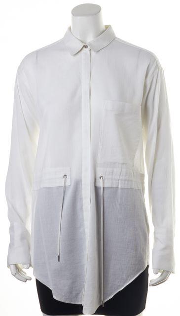 HELMUT LANG White Cotton Drawstring Sheer Button Down Shirt