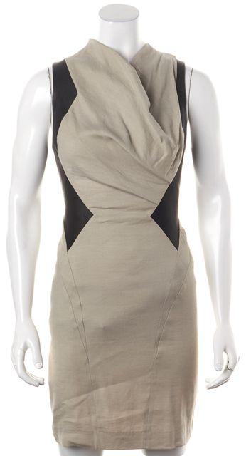 HELMUT LANG Beige Black Colorblock Linen Leather Trim Draped Sheath Dress