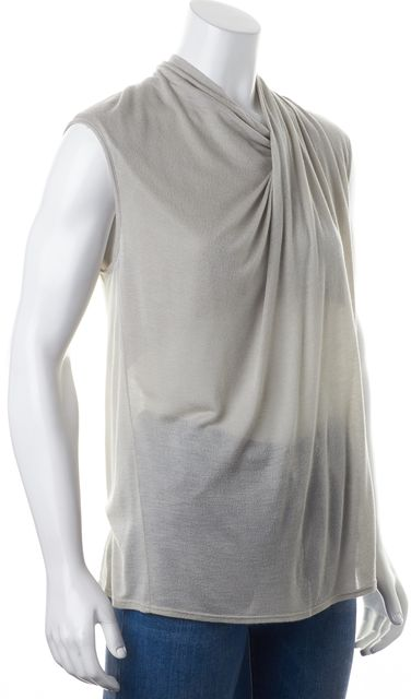 HELMUT LANG Gray Draped Sleeveless Semi Sheer Blouse Top
