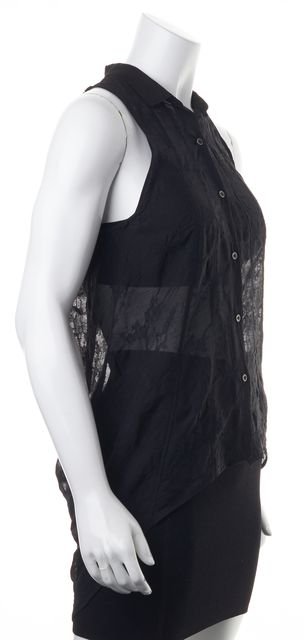 HELMUT LANG Black Sheer Button Front Sleeveless High-Low Blouse Top