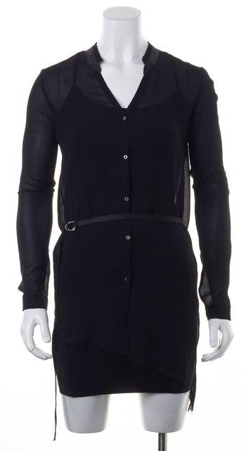 HELMUT LANG Black Belted Waist Frayed Sheer Tunic Top