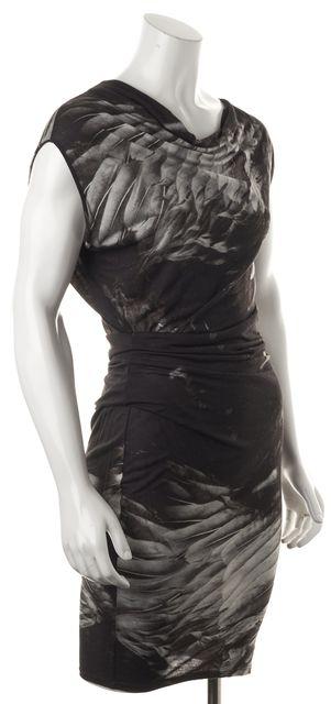 HELMUT LANG Black Gray Abstract Sleeveless Draped Stretch Dress