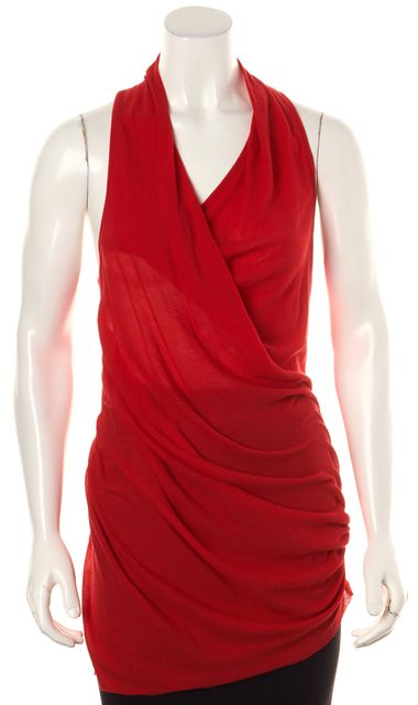 HELMUT LANG Red Web Jersey Gathered Sleeveless Blouse Top