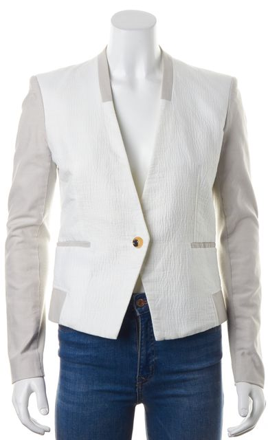 HELMUT LANG White Textured Cotton Ribbed Knit Sleeve Trim Collarless Blazer