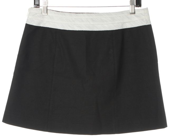 HELMUT LANG Black White Cotton Linen Canvas Mini Skirt