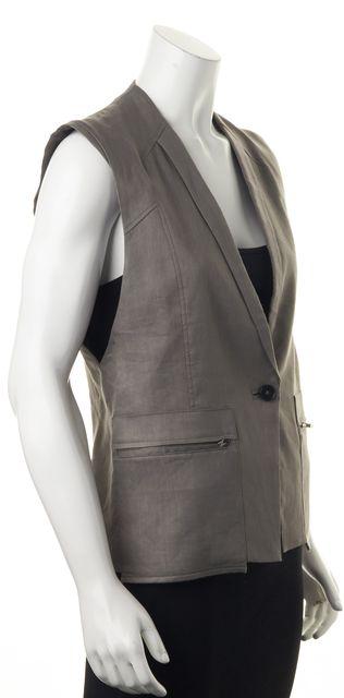 HELMUT LANG Gray Linen One Button Zip Pockets Sleeveless Vest