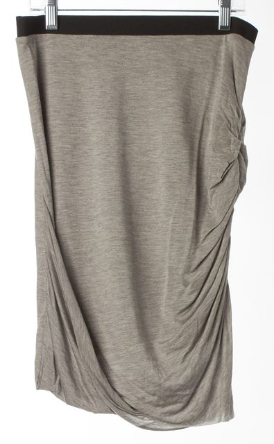 HELMUT LANG Gray Ruched Draped Stretch Knit Jersey Skirt