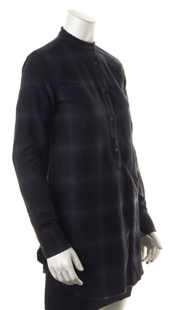 HELMUT LANG Navy Blue Black Plaid Wool Frayed Knit Top