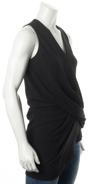 HELMUT LANG Black Draped Sleeveless Asymmetrical Blouse Top