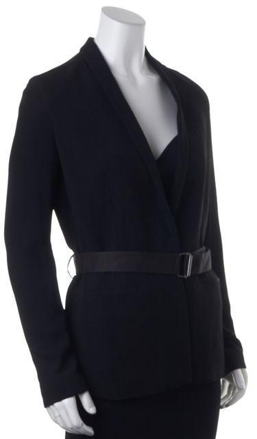 HELMUT LANG Black One Button Waist-TIe Blazer Jacket