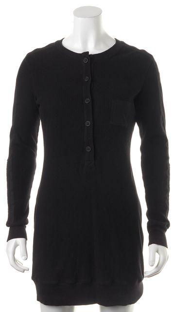 HELMUT LANG Black Cotton Waffle Knit Henley Sheath Dress