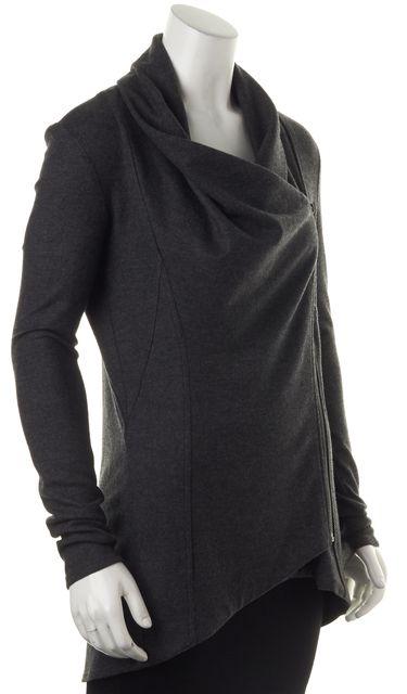 HELMUT LANG Gray Wool Basic Zip Side Cowl Neck Jacket
