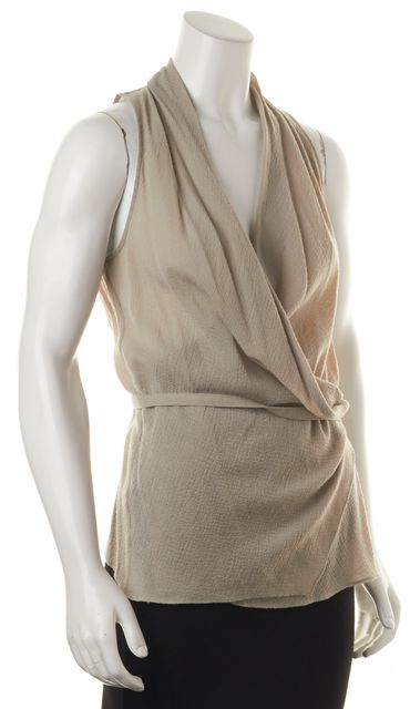 HELMUT LANG Gray Wool Sleeveless Wrap Blouse Top