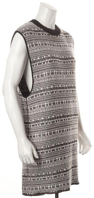 HELMUT LANG White Black Boucle Linen Sleeveless Shift Dress