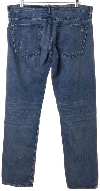 HELMUT LANG Blue Paint Splattered Distressed Tapered Relaxed Jeans