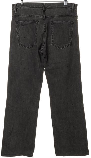 HELMUT LANG Dark Gray Distressed Denim Flare Leg Jeans