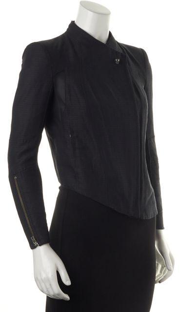 HELMUT LANG Blue Black Mesh Combo Basic Zip Front Jacket