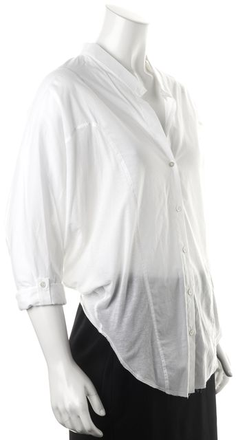 HELMUT LANG White Cotton Rolled Batwing Semi Sheer Blouse Top