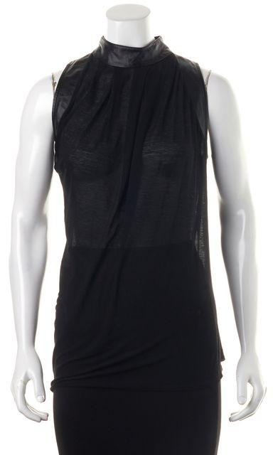 HELMUT LANG Black Leather Sheer Knit Sleeveless Blouse Top