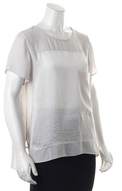 HELMUT LANG Gray Oversized Short Sleeve Semi Sheer Blouse Top