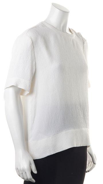 HELMUT LANG Ivory Textured Silk Short Sleeve Oversized Blouse Top